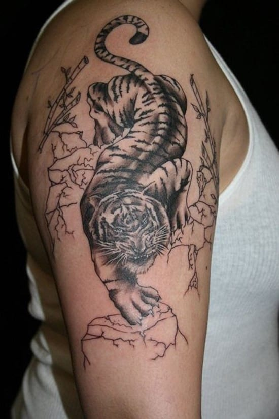 tiger and bamboo tattoo