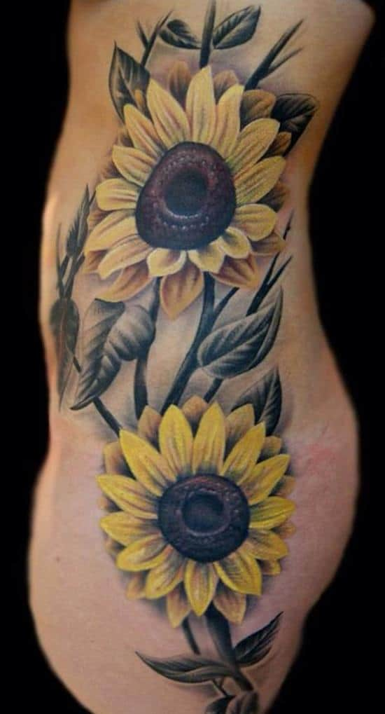 50 vibrant sunflower tattoo designs meanings 2017 for Realistic sun tattoo