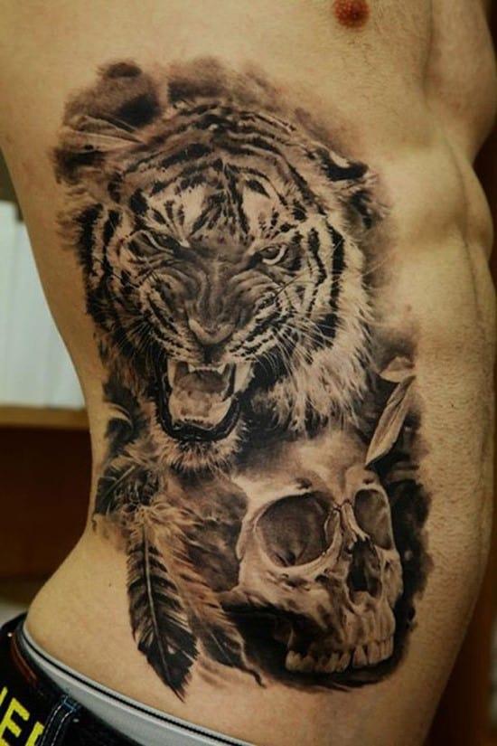 tiger and skull tattoo