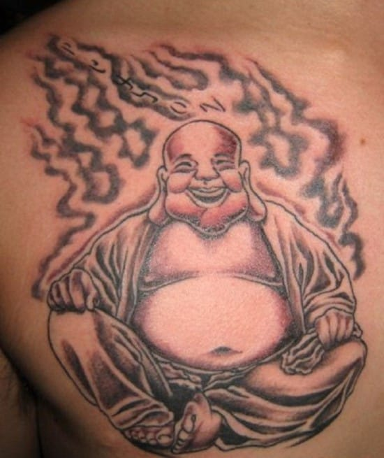 Awesome-Buddhist-Tattoos-Buddhist-Laughing-Tattoo-on-Chest