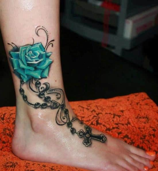 Beautiful-3D-Rose-Ankle-Tattoo-with-Cross-Chain