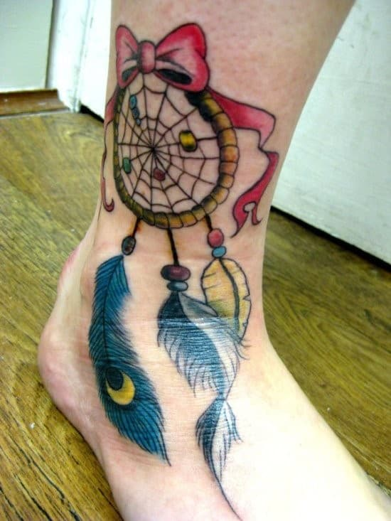 Beautiful-Colorful-Dreamcatcher-Ankle-Tattoo