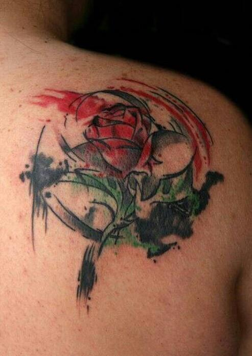 Beauty-and-the-Beast-watercolor-rose-tattoo