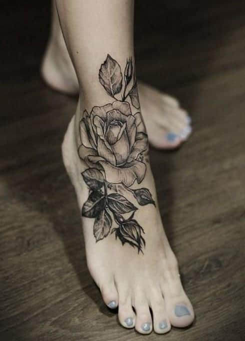 Black-Rose-tattoo-on-foot