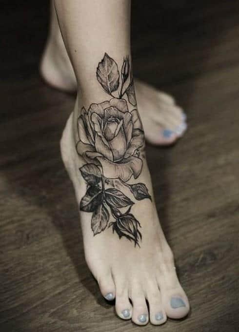 Black-Rose-tattoo-on-foot