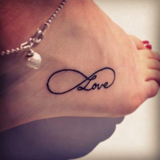 Black-infinity-love-tattoo-on-ankle