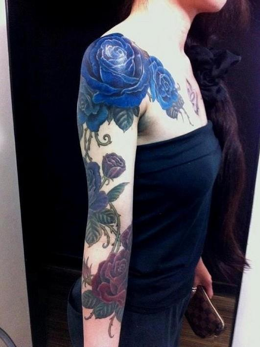 Blue-Rose-Tattoo-on-Arm-Girls-Tattoos