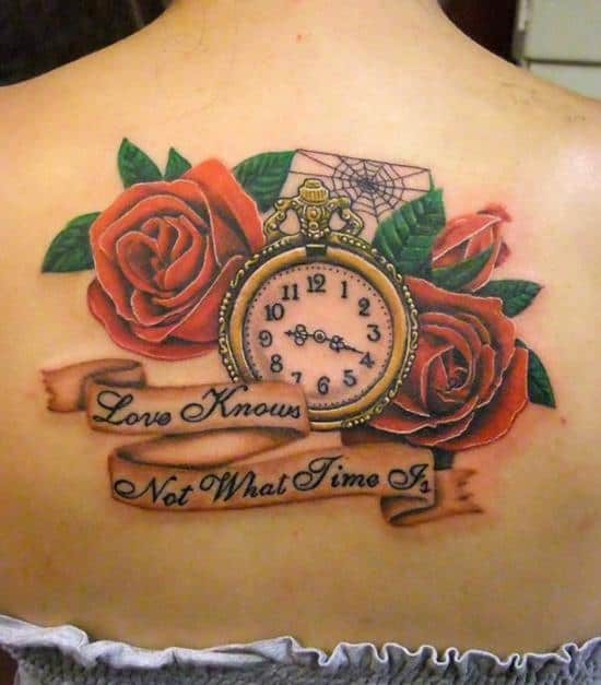 Clock-and-rose-tattoo