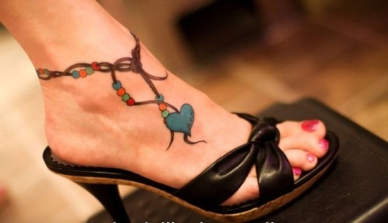 Colorful-Heart-Anklet-Tattoo-for-Women