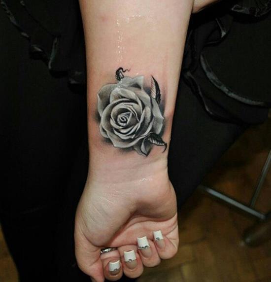 Cool-Rose-Tattoo-on-Wrist