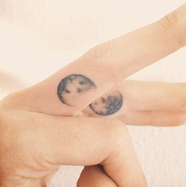 Moon Finger Tattoos by Doy