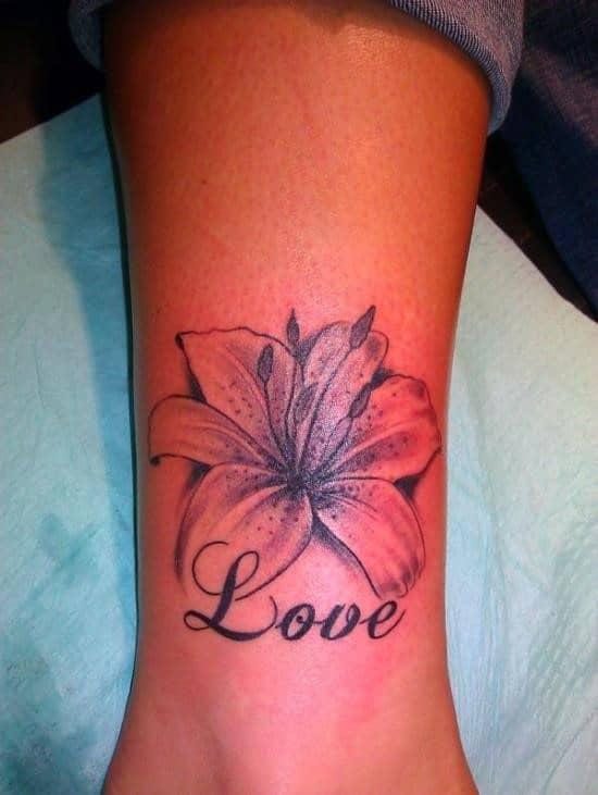 Flower-Love-Ankle-Tattoo