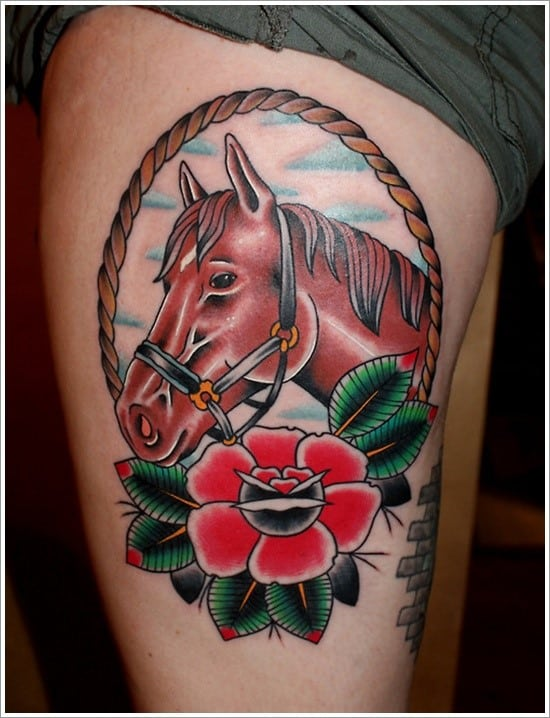 Horse-Flower-Tattoo