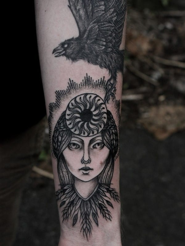 My-norse-mythos-arm-in-progress.-Huginn-Muninn-and-Sol-Goddess-of-the-sun.-Baylen-levore-in-Asheville-NC