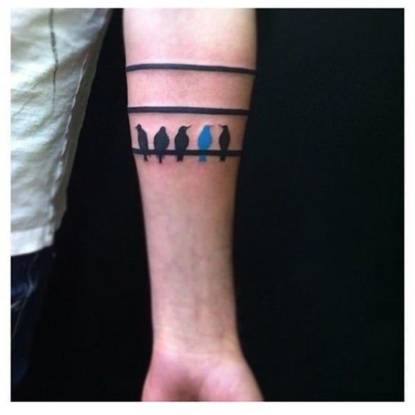 Pretty-Stripe-and-Birds-Arm-Band-Tattoos