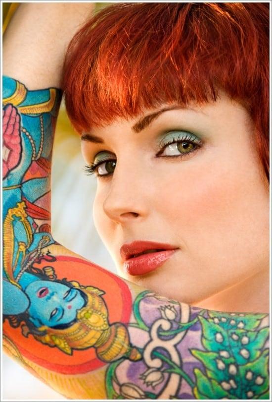 Close up portrait of attractive tattooed Caucasian woman in Maui, Hawaii, USA.