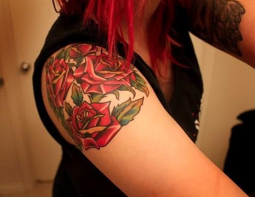 Roses-Tattoo-for-Girl-on-Shoulder