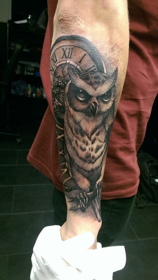 owl sleeve tattoo idea
