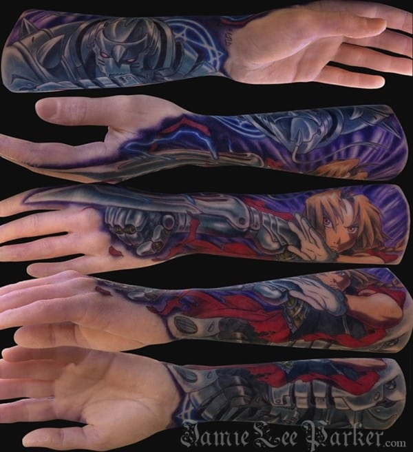 Synthetic-tattooed-Full-Metal-Alchemist-arm-done-by-Jamie-Lee-Parker-at-MD-Tattoo-Studio-in-Northridge-CA.-the-arm-is-from-a-company-called-A-Pound-Of-Flesh.-650x711