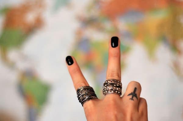 Airplane Finger Tattoo