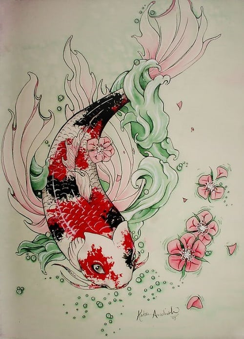 Beautiful Dotted Koi Fish Tattoo