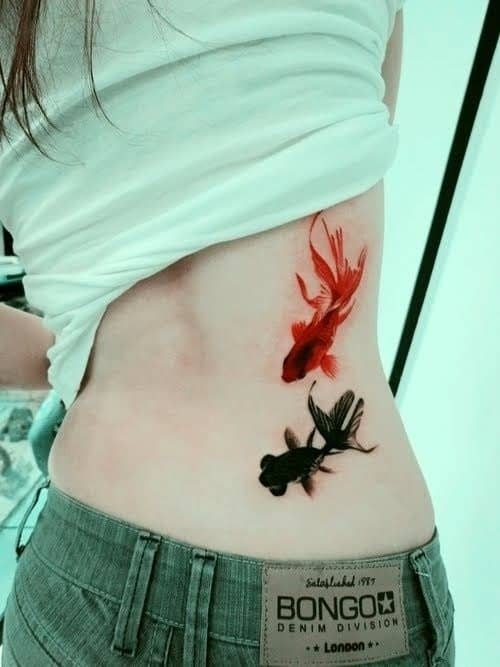 Beautiful Koi Tattoo on Lower Back