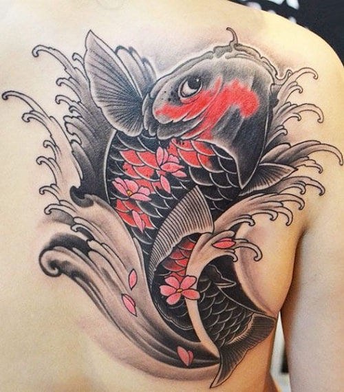 koi fish on back