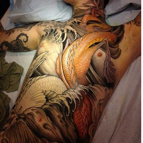 Chest Until Abdomen Koi Tattoo