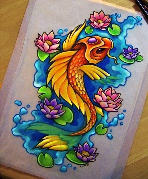 Colorful Koi Fish Tattoo Layouts