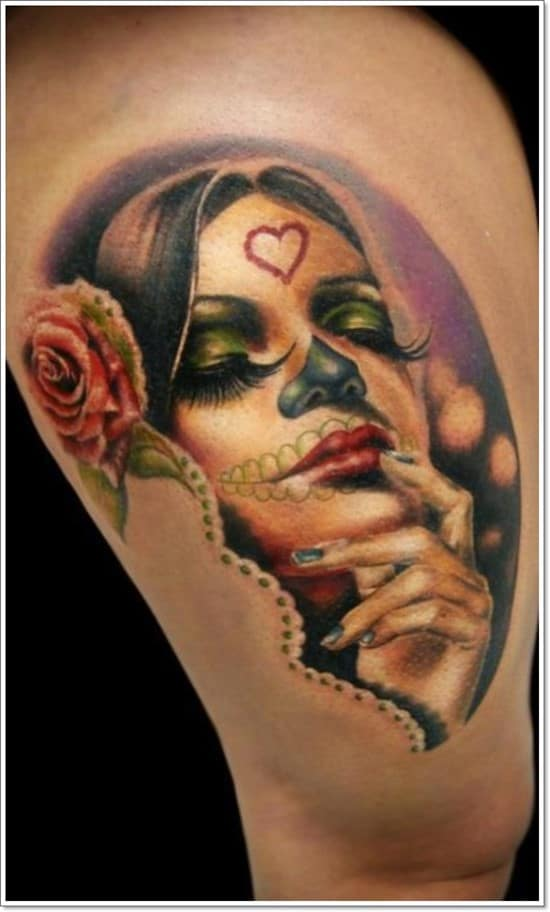 100 greatest day of the dead tattoos meanings april 2018 part 3. Black Bedroom Furniture Sets. Home Design Ideas