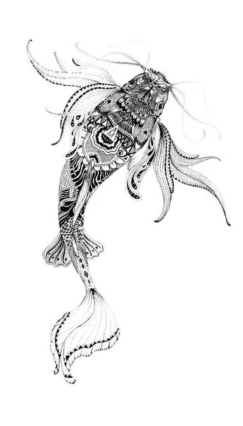 Detailed Beautiful Koi Fish Tattoo
