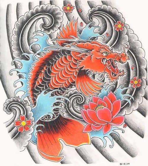 Dragon Koi Fish Design Tattoo