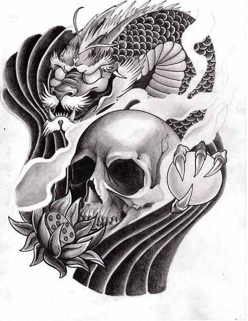 Dragon Koi with Skull Tattoo