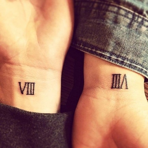 Eight Roman Numeral Best Friend Tattoos