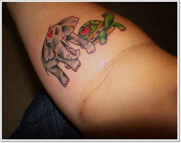elephant-and-turtle-tattoo-on-forearm