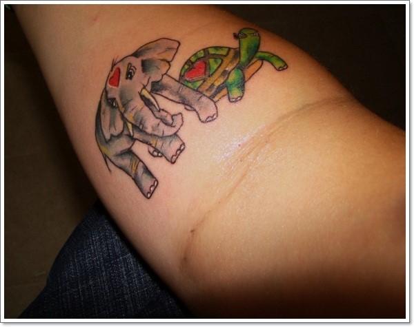 elephant-and-turtle-tattoo-on-forearm