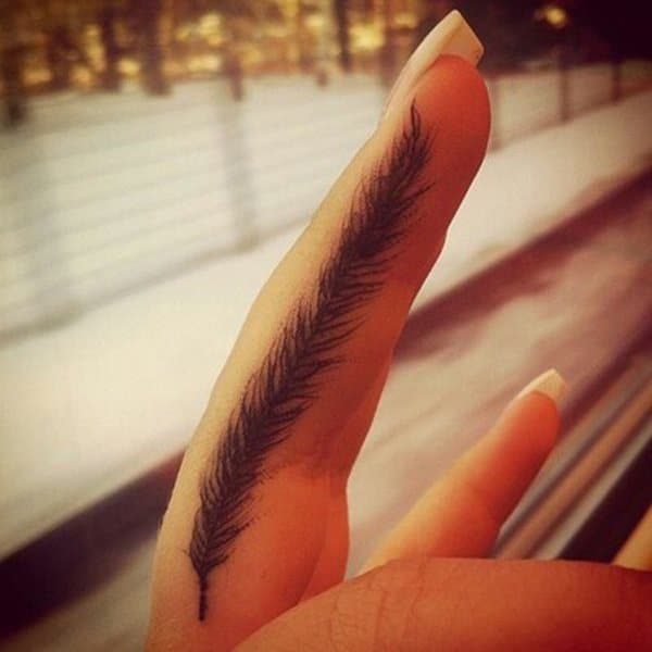 Feather Finger Tattoo