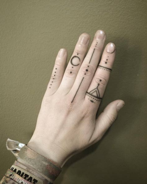 Hand Poked Finger Tattoo Designs by Goldy