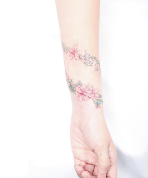 Floral Wrist Tattoo by Mini Lau