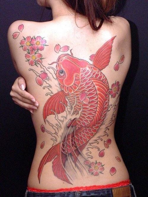 Full Back Koi Tattoo for Women