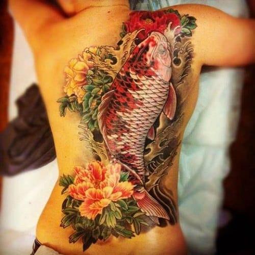 Full Back Koi Tattoo with Flowers