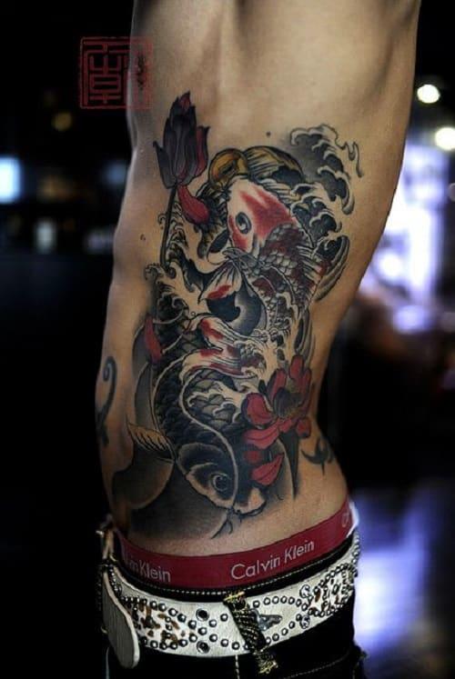 Full Side Koi Fish Tattoo