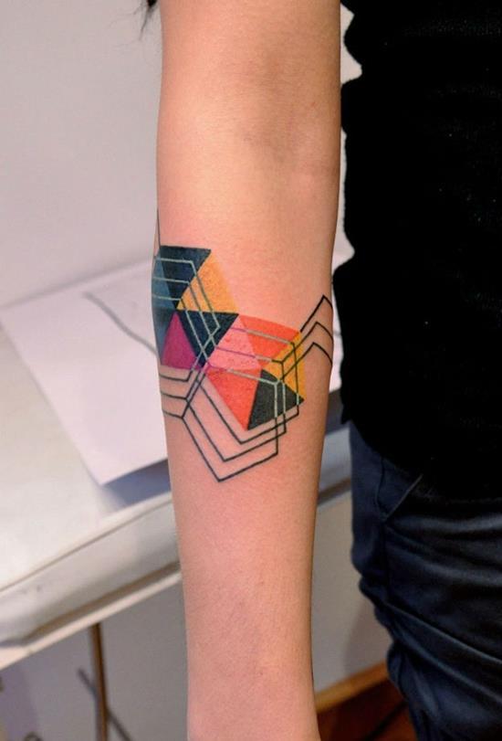 geometric tattoo on forearm