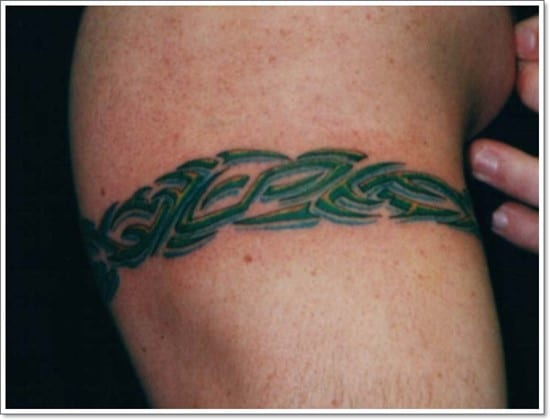 green-ink-tribal-armband-tattoo