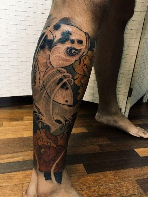 Koi Fish Tattoo on Leg