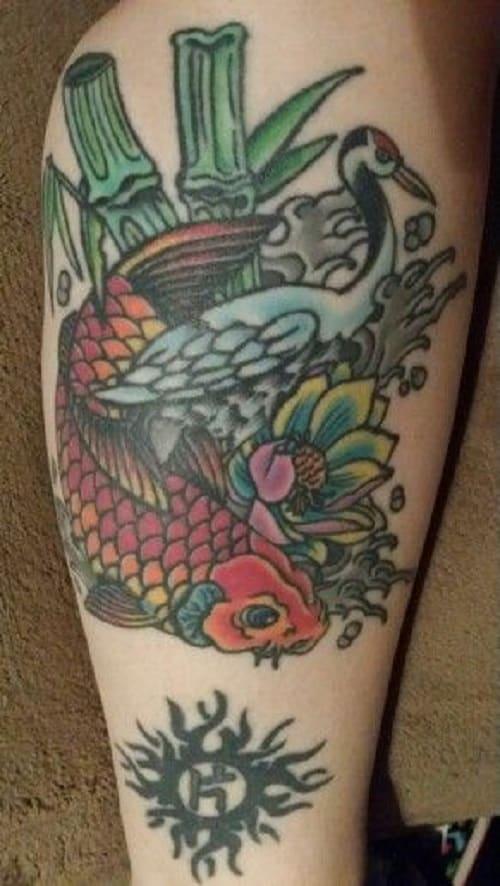 Koi Tattoo with Bamboo and Swan