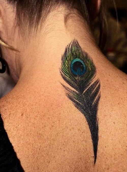 Peacock Tattoo On Neck