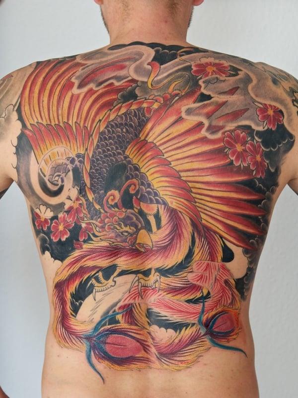 phoenix tattoos on back
