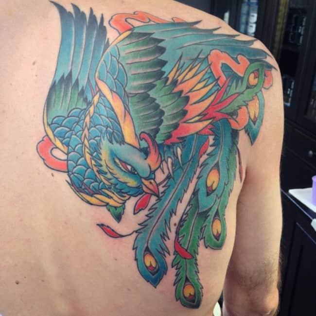 phoenix on shoulder and back