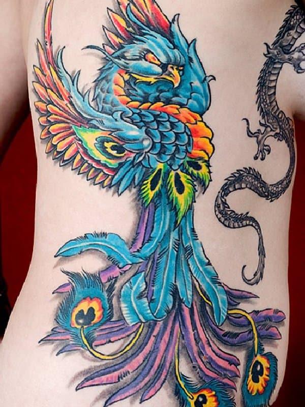 blue phoenix on back